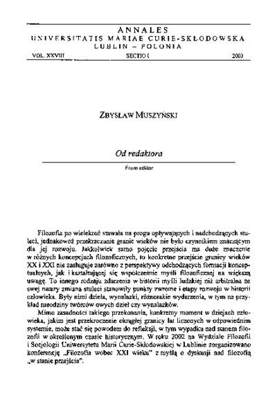Annales Universitatis Mariae Curie-Skłodowska, Sectio I, Philosophia-Sociologia. Vol. 28 (2003) - Od redaktora