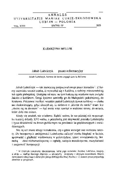Jakub Lubelczyk - pisarz reformacyjny