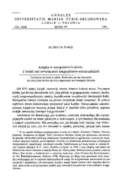 Książka w staropolskim Lublinie. Z badań nad inwentarzami księgozbiorów mieszczańskich