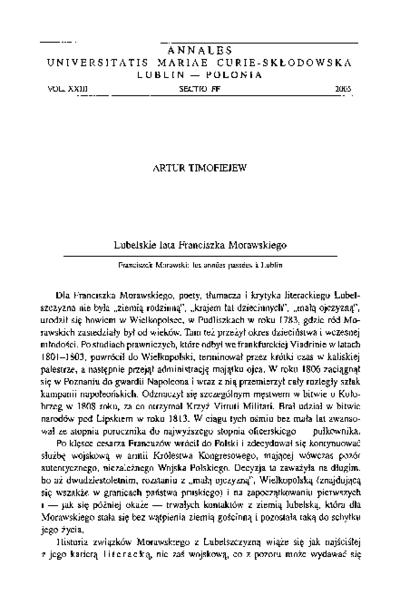 Lubelskie lata Franciszka Morawskiego