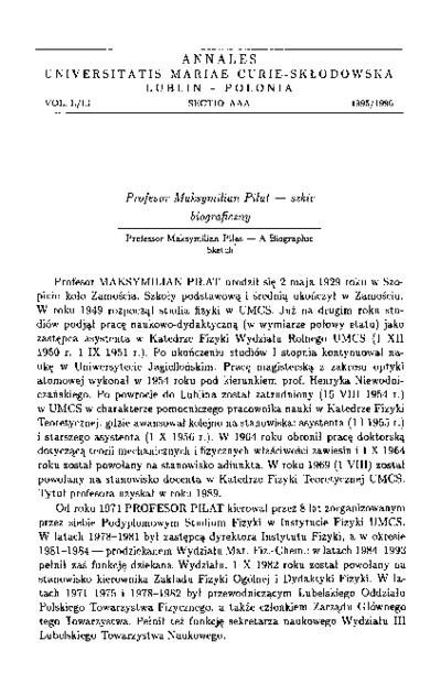 Profesor Maksymilian Piłat - szkic biograficzny