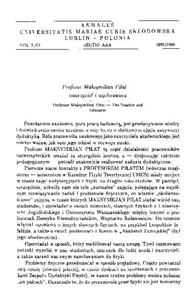 Profesor Maksymilian Piłat - nauczyciel i wychowawca