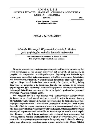 Metoda Wczesnych Wspomnień Arnolda R. Bruhna jako projekcyjna technika badania osobowości