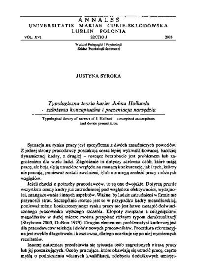 Typologiczna teoria karier Johna Hollanda - założenia konceptualne i prezentacja narzędzia