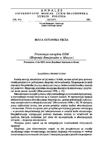 Prezentacja narzędzia EEM (Ekspresja Emocjonalna w Muzyce)