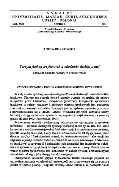 Terapia funkcji językowych u młodzieży dyslektycznej