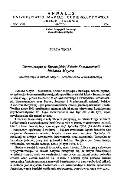 Choreoterapia w Europejskiej Szkole Somatoterapii Richarda Meyera