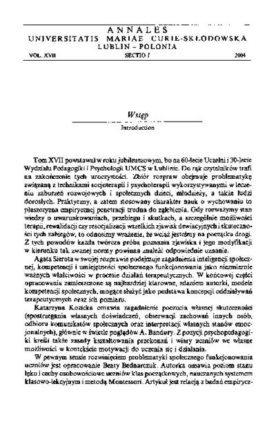 Annales Universitatis Mariae Curie-Skłodowska. Sectio J, Paedagogia-Psychologia. Vol. 17 (2004) - Wstęp