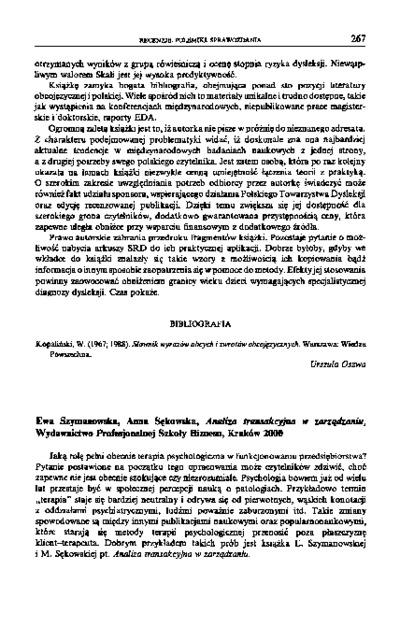 Ewa Szymanowska, Anna Sękowska, Analiza transakcyjna w zarządzaniu, Wydawnictwo Profesjonalnej Szkoły Biznesu, Kraków 2000 [recenzja]