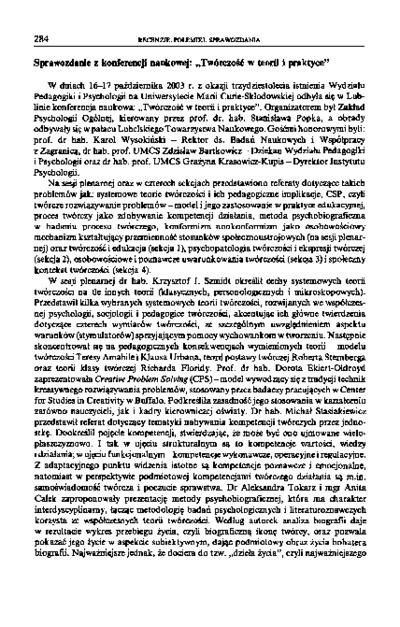 """Sprawozdanie z konferencji naukowej: """"Twórczość w teorii i praktyce"""""""