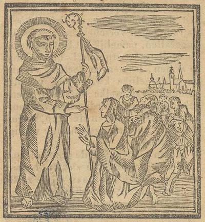 Onderwijzing hoe men zal onderhouden de novenen van den H. Marcoen, abt van Nanteville, bezonderen patroon tegen het Koning-zeer en andere kwalen. Welken geerd word in de kerk van Hunsel. Met afbeelding van de Heilige waarnaar pelgrims optrekken. [Houtsnede], 7 x 6,5 cm.