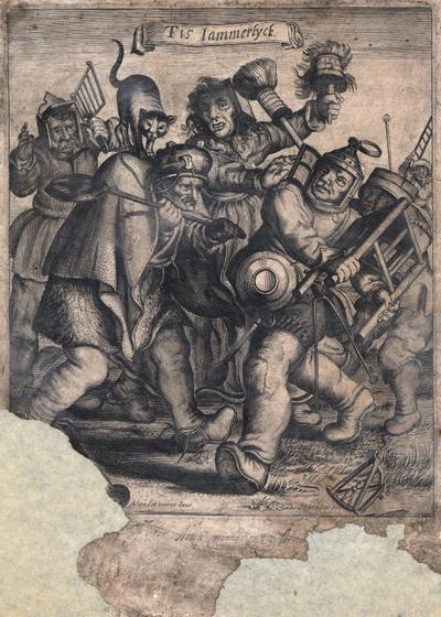 Personen vechtend met allerhande gebruiksvoorwerpen. Gravure van A. van der Venne, gesneden door Matham. Beschadigd. 24,5 x 21.