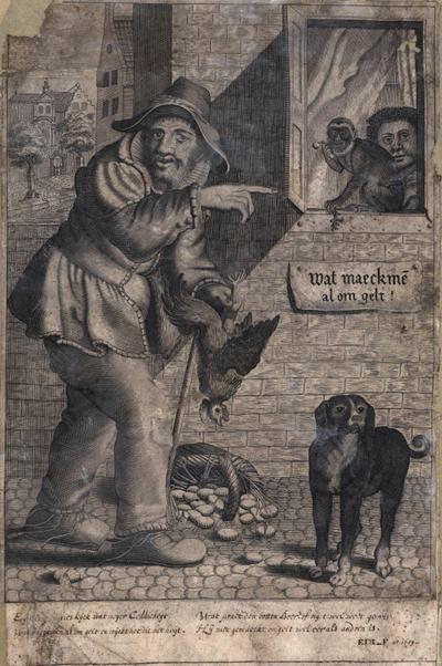 Gravure voorstellende een boer met haan in zijn hand enz. Met later bijgeschreven tweeregelig onderschrift. 31,5 x 21.