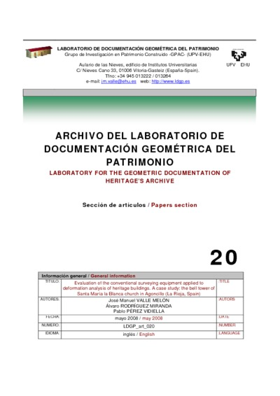 Evaluation of the conventional surveying equipment applied to deformation analysis of heritage buildings. A case study: the bell tower of Santa María la Blanca church in Agoncillo (La Rioja, Spain)