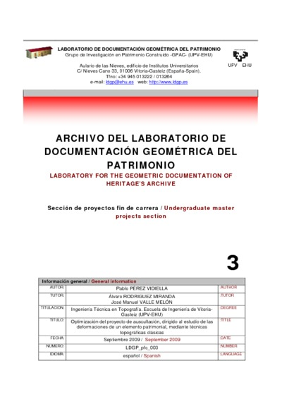 Optimización del proyecto de auscultación, dirigido al estudio de las deformaciones de un elemento patrimonial, mediante técnicas topográficas clásicas