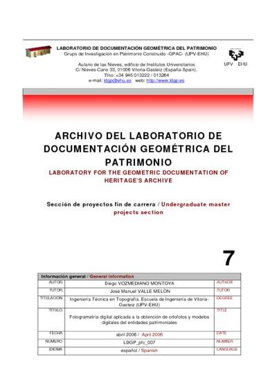 Fotogrametría digital aplicada a la obtención de ortofotos y modelos digitales del entidades patrimoniales