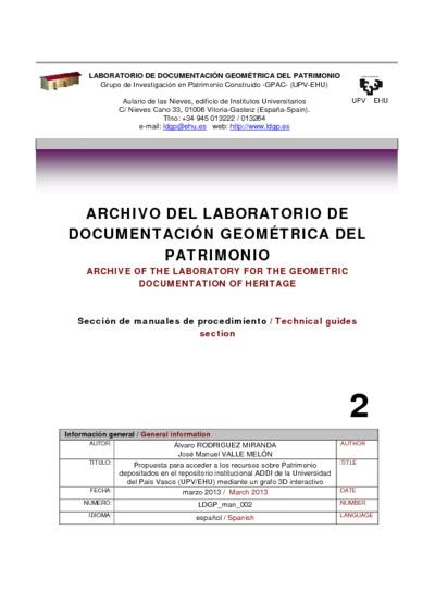 Propuesta para acceder a los recursos sobre Patrimonio depositados en el repositorio institucional ADDI de la Universidad del País Vasco (UPV/EHU) mediante un grafo 3D interactivo