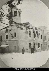 Lahingutegevuse käigus purustatud Ringmundshofi (Kegums) mõisa                      peahoone.