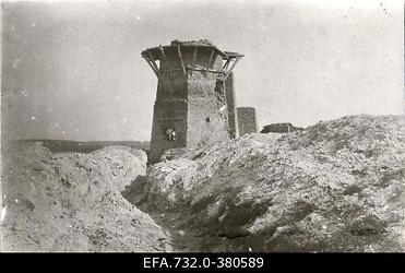 Lahingutegevuse käigus purustatud lubjaahi Ükskülas                      (Ikškile).