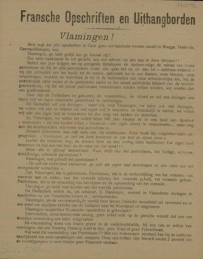 Fransche Opschriften en Uithangborden Vlamingen! ... Komt zaterdag aanstaande 11 mei 1918 naar de Groote volksvergadering in de Groote Zaal der Academie, ... Spreker: Prof. Lambrichts van Brussel ... Liederavond te 6 uur. ... Komt elken maandag te 7.30 uur naar den Groote Debat-avond ..