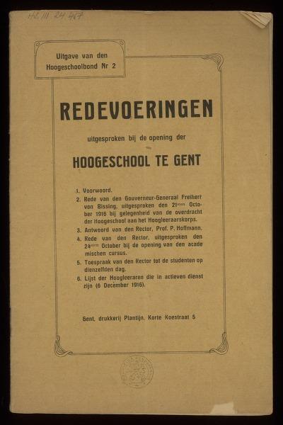 Redevoeringen uitgesproken bij de opening der Hoogeschool te Gent
