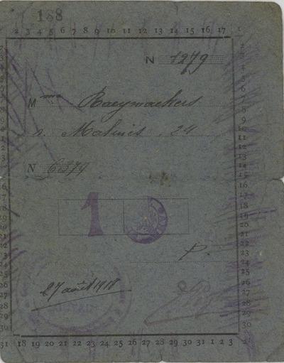 [kaart] Mme [Raeymaekers s. Malines, 24] 27 août 1918