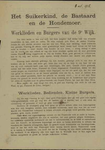 Het suikerkind, de bastaard en de hondemoer werklieden en burgers van de 9e wijk ... Protestmeeting op woensdag 9 october 1918, om 7.30 uur ... M. L. Hardyns zal spreken over Vlaanderens zelfstandigheid en volkswelvaart