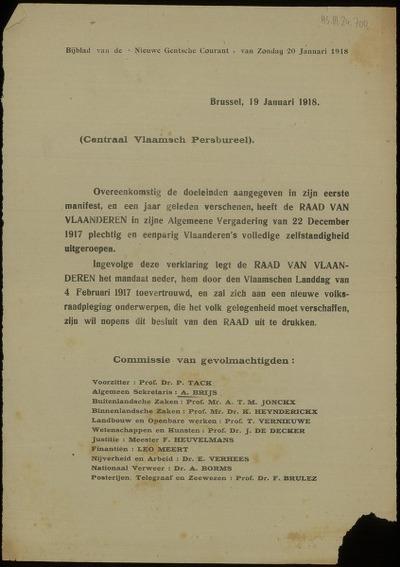 [Verklaring vanwege de Raad Van Vlaanderen over de plechtige en unanieme uitroeping van de Vlaamse zelfstandigheid op 22 December 1917]