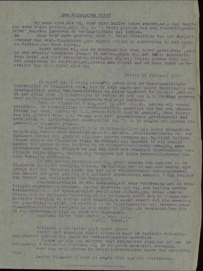 [Brief van M. Ecker, voorzitter van het Burgerlijk bestuur voor Oost-Vlaanderen, aan zijn vriend en medewerker de Heer Dr. Flerey]