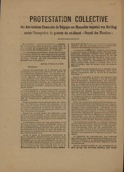 Protestation Collective des Associations flamandes de Belgique au Chancelier impérial von Hertling contre l'usurpation de pouvoir du soi-disant 'Conseil des Flandres'
