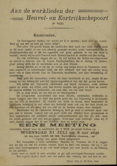 Aan de werklieden der Heuvel- en Kortrijkschepoort (9e wijk) ... Eene Meeting ... woensdag 31 juli om 8 uur stipt bij den heer Albin De Bie, Kortrijksche steenweg ..