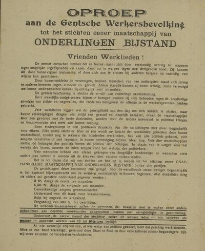 Oproep aan de Gentsche Werkersbevolking tot het stichten eener maatschappij van Onderlingen Bijstand Vrienden Werklieden!