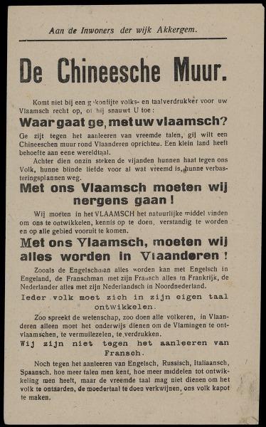 Aan de inwoners der wijk Akkergem. De Chineesche Muur. ... vrijdag, 14 juni, te 7.30 uur, Groote Volksvergadering ..
