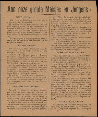 Aan onze groote Meisjes en Jongens den Vlaamsch Nationalistischen Schoolbond voor Jongelingen en Meisjes ..