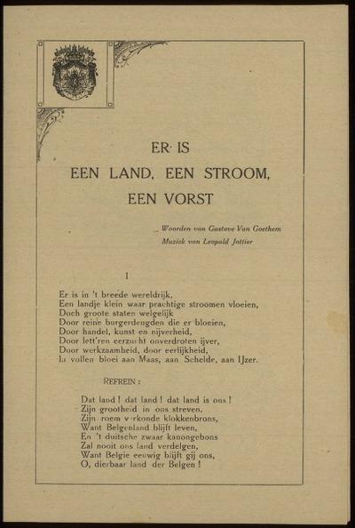 Er is een land, een stroom, een vorst woorden van Gustave Van Goethem, muziek van Leopold Jottier