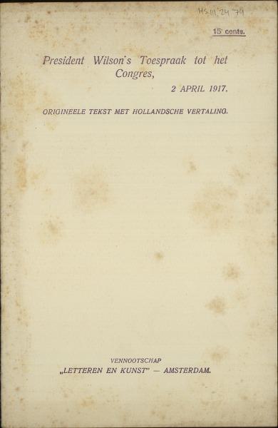 President Wilson's Toespraak tot het Congres, 2 april 1917