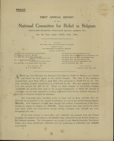 First annual report of the National Committee for Relief in Belgium for the Year ended april 26th, 1916