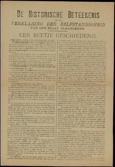 De Historische Beteekenis van de Verklaring der Zelfstandigheid van den Staat Vlaanderen