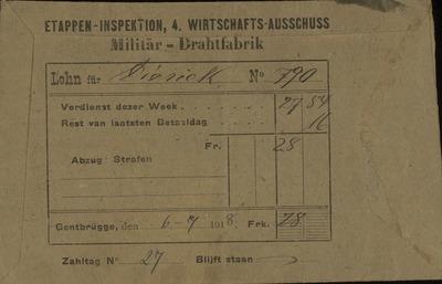 [Enveloppe] Etappen-Inspektion, 4. Wirtschafts-Ausschuss. Militär - Drahtfabrik. Lohn für [Diederick] nr. [790] ..