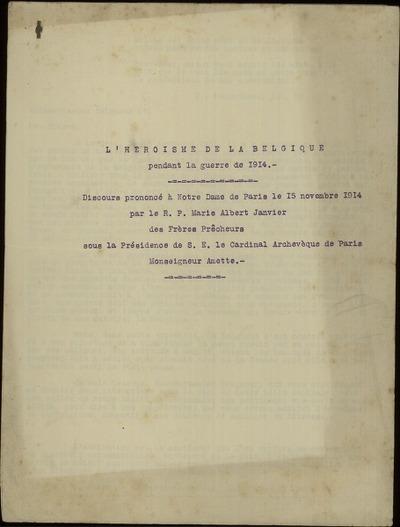 L'héroïsme de la Belgique pendant la guerre de 1914 Discours prononcé à Notre Dame de Paris le 15 novembre 1914