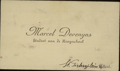 Marcel Devenijns. Student aan de Hoogeschool