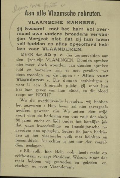 [Strooibriefje met propaganda voor een onafhankelijk Vlaanderen]