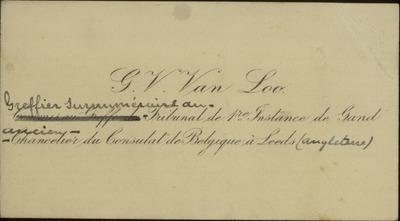 [Visitekaartje:] G. V. Van Loo