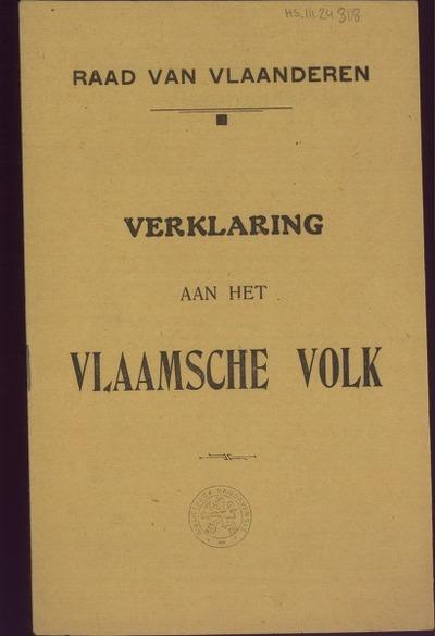 Verklaring aan het Vlaamsche volk