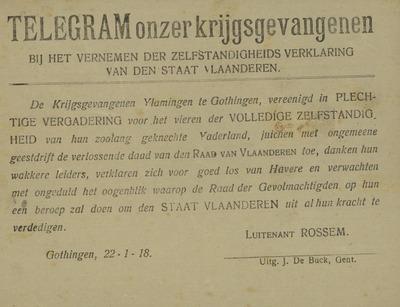 Telegram onzer krijgsgevangenen bij het vernemen der zelfstandigheidsverklaring van den staat Vlaanderen