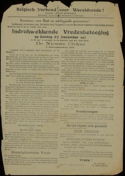 [Oproep:] Indrukwekkende Vredesbetooging op Zondag 23 December 1917 in ... De Nieuwe Cirkus