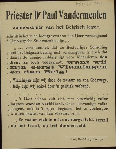 Priester Dr. Paul Vandermeulen ... schrijft in ... 'Limburgsche Studentenblaadje' ... want wij zijn eerst Vlamingen en dan Belg! ...