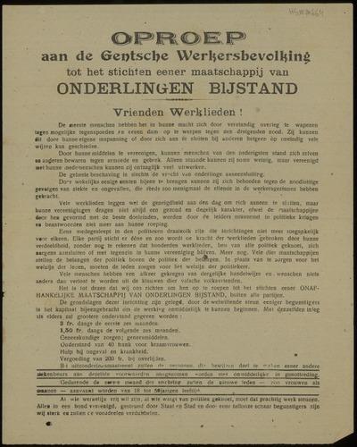Oproep aan de Gentsche Werkersbevolking tot het stichten eener maatschappij van onderlingen bijstand