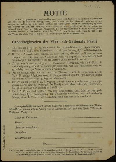 Vlaamsch-Nationale Partij (V.N.P.) Gent Toetredingsbulletin