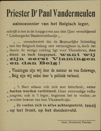 Priester Dr. Paul Vandermeulen, aalmoezenier van het Belgisch leger schrijft in de de loopgraven aan den Ijzer, verschijnend Limburgsche Studentenblaadje